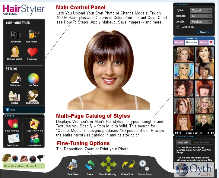 The Hairstyle Ideas Catalog offers limitless combinations & previews of